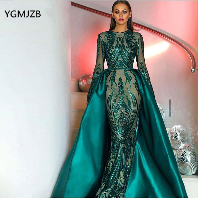Green Muslim Mermaid Evening Dress Sequin Lace Long Sleeves Detachable Train Saudi Arabic Formal Dress Prom Gown Robe De Soiree