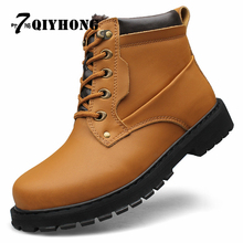 New Fashion Genuine LeatherWinter Add Fur Men Ankle Boots Warm Winter Snow Warm Men's Boot Lace Up Men Shoes Plus Size 38-52