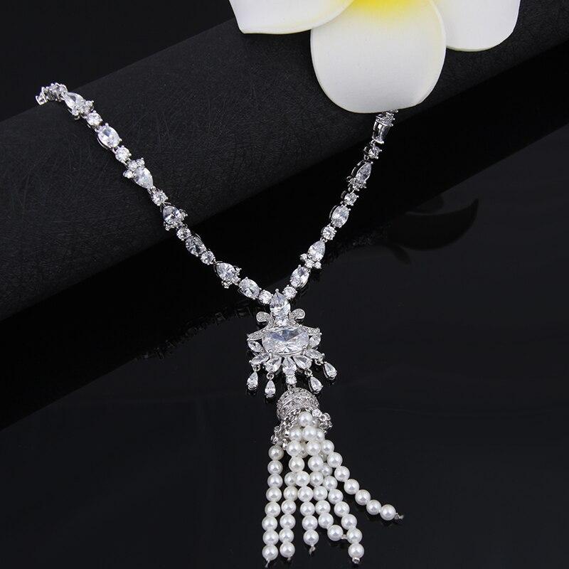 Ensembles de bijoux de mariée en perles simulées magnifiques ensembles de boucles d'oreilles collier de fleurs en cristal bijoux de mariage ensembles de Sieraden AS121 - 5