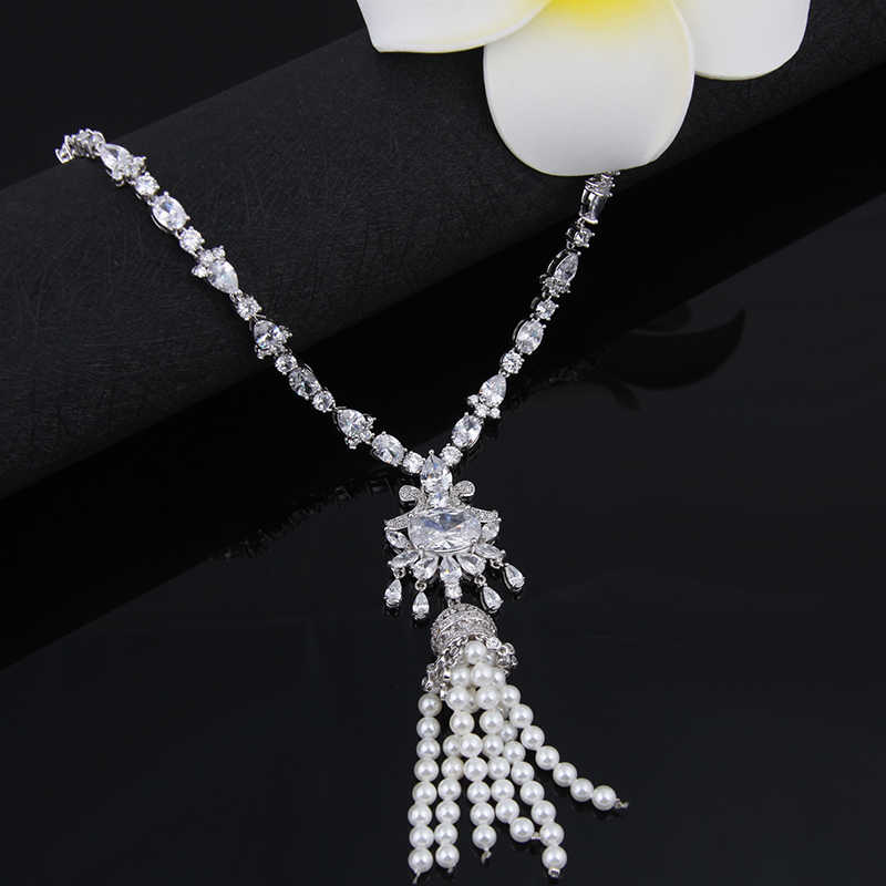 Gorgeous Simulated Pearl Bridal Jewelry Sets Crystal Flower Necklace Earrings Sets Wedding Jewelry Sieraden Sets AS121