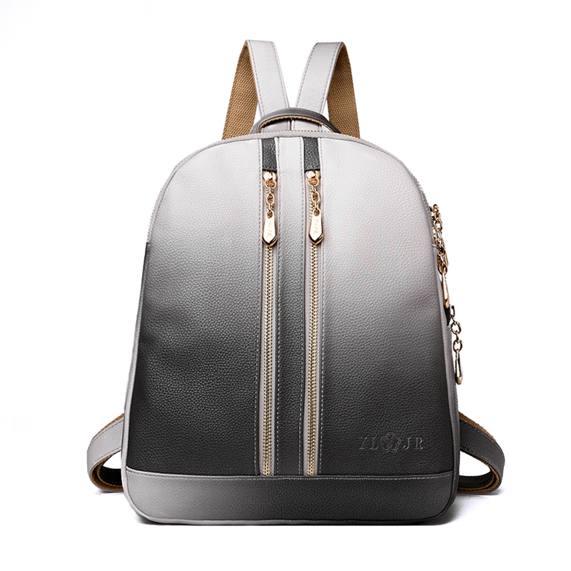 Women Backpack Fashion High Quality PU Leather Mochila Escolar School Shoulder Bags For Teenagers Girls Gradient Color Backpacks