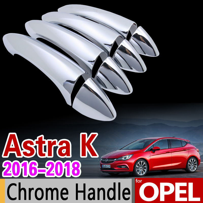 for Opel Astra K 2016 2017 2018 Chrome Handle Cover Trim Set Vauxhall Holden Sedan Hatchback Car Accessories Sticker Car Styling for vauxhall opel astra j 2010 2014 stainless steel window frame moulding trim center pillar protector car styling accessories