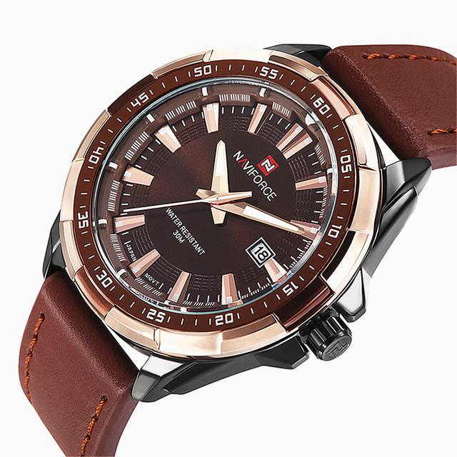 Reloj de lujo analógico con correa de cuero para hombre