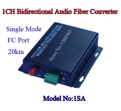 1SA One Way Bidirectional Sound Audio to Fiber Digital optical converter Transmitter and Receiver Single Mode 20KM FC Port