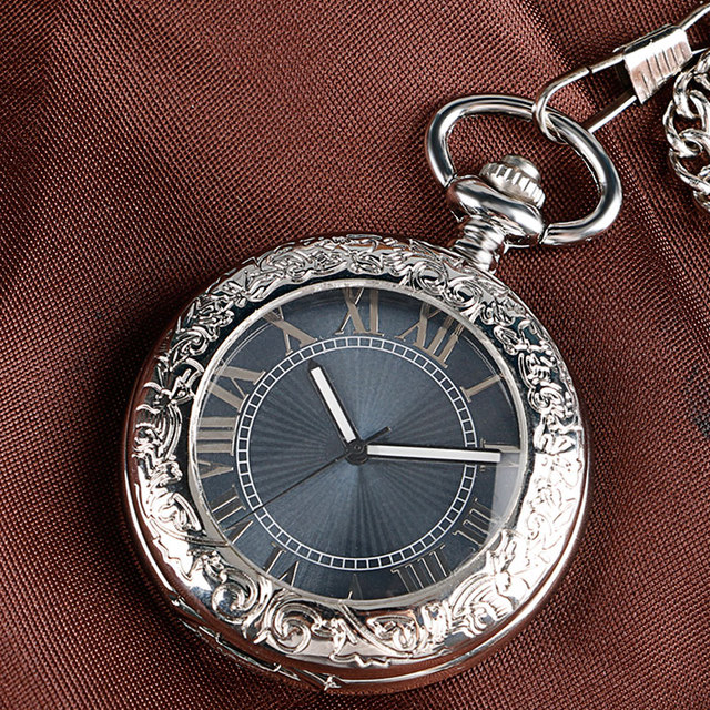 Fashion Silver Glass Case Black Roman Number Dial Self-wind Mechanical Fob Pocket Watches with Chain relojes de bolsillo