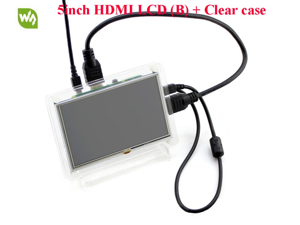 5inch HDMI LCD (B) Raspberry Pi LCD Display 800*480 Resistive Touch Screen for Raspberry Pi Banana Pi BB Black with Clear Case modules raspberry pi lcd display 5 inch hdmi lcd b with clear case touch screen supports raspberry pi 3 2 b banana pi bana