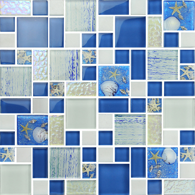 Blue Color Crystal Glass Mixed Sea Shell Mosaic For Kitchen Backsplash Tile  Bathroom Shower Hallway Wall