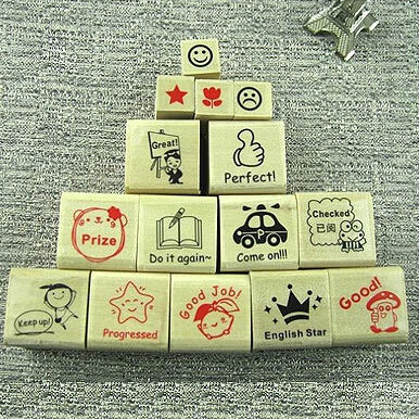 15pcs set New English teachers comments wooden stamp set DIY deco stamp wood gift stamp Scrabbook
