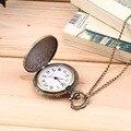 Dos homens de Bronze Antigo Retro Vintage DAD Relógio de Bolso de Quartzo Com Corrente Presente Da Promoção New Arrivals