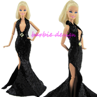 Particular Fashion Sexy Black Paillette Dress Party Gown Original Princess Clothes For Barbie Doll Best Gift