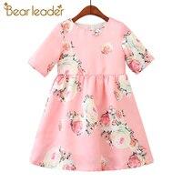 Bear Leader Girls Dresses 2018 New Brand Princess Clohting Printing Flower Short Sleeve Sweet Dresses For