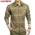 LONMMY Plaid shirt men Cotton brand clothing High quality Casual mens shirts camisa social Long sleeve mens dress shirts 2016