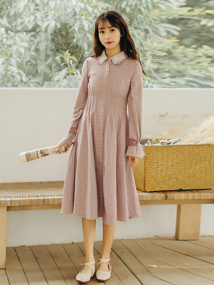 Women's Clothing Ubei French Retro Dress Summer Very Fairy Minority Small Plaid Dress Peter Pan Collar Sweet Dress Women In Many Styles