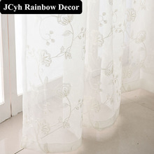 White Tulle Sheer Window Curtains For Living Room The Bedroom Embroidery Floral Organza Curtains For Window Voile Cortina muslin цена
