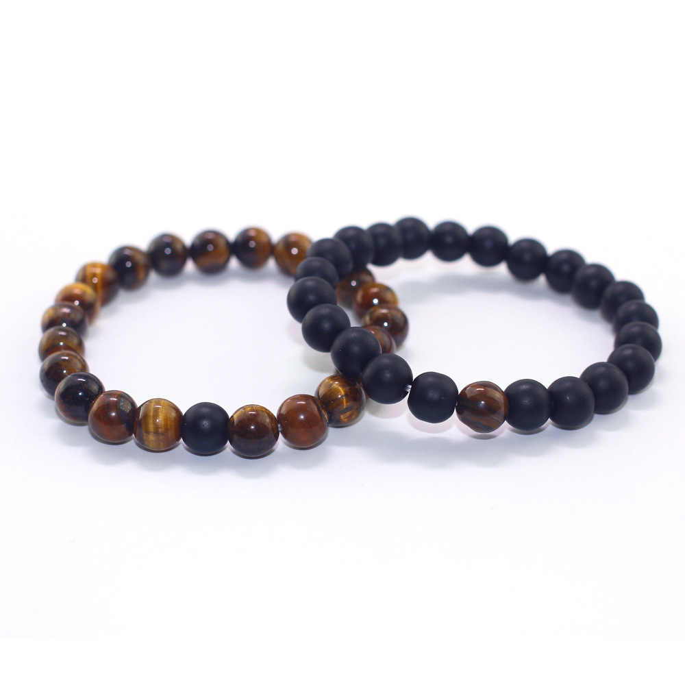 Retro Simple Men Beaded Couple Bracelet Natural Tiger Eye Stone Women Bracelet Couple Natural Bead Bracelet Pulsera De Mujer