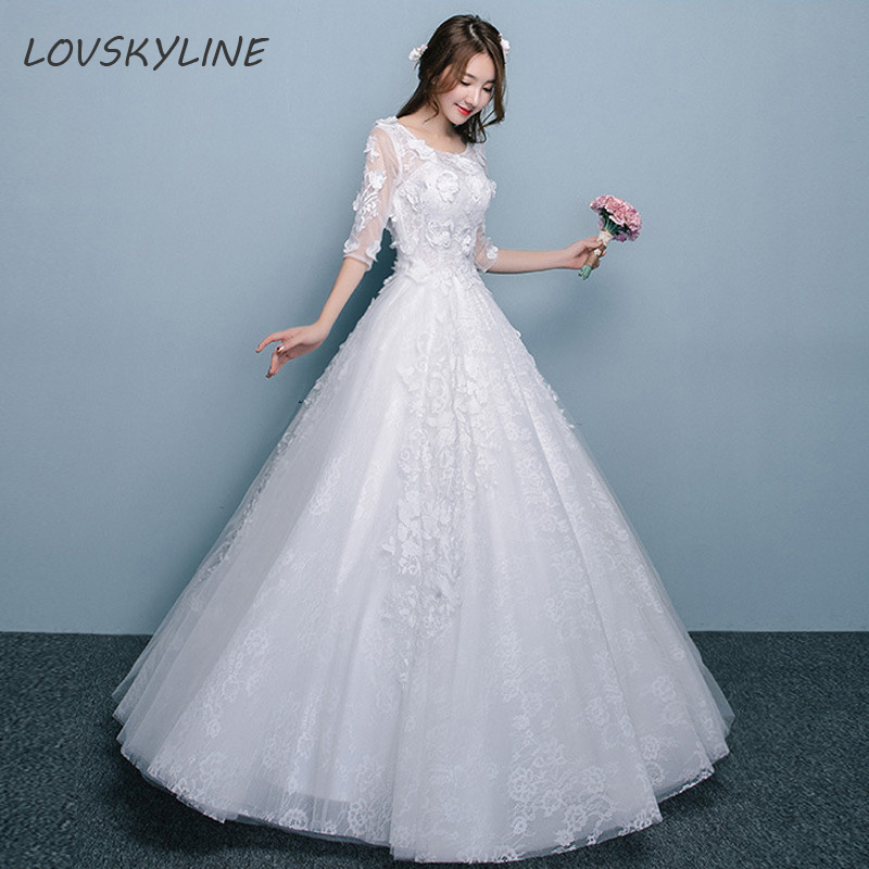 Lace Boho Wedding Dress O-Neck Appliques A-Line Half Sleeves Embroidery Lace up Back Bohemian Wedding Dresses