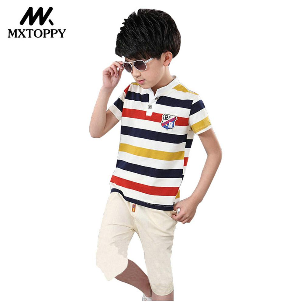 MXTOPPY Kid Clothes 2018 Summer Casual Boys Clothes Striped Boys Clothes Set For Children Clothing Boys Sports Suit