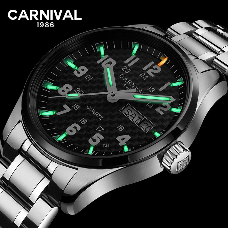 Carnival T25 Tritium Gas Luminous Quartz Watch Men Fashion Full Stee Waterproof Sapphire Crystal Wrist Watches