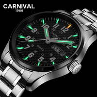 Carnival T25 Tritium Gas Luminous Quartz Watch Men Fashion Full Stee Waterproof Sapphire Crystal Wrist Watches reloj hombre saat