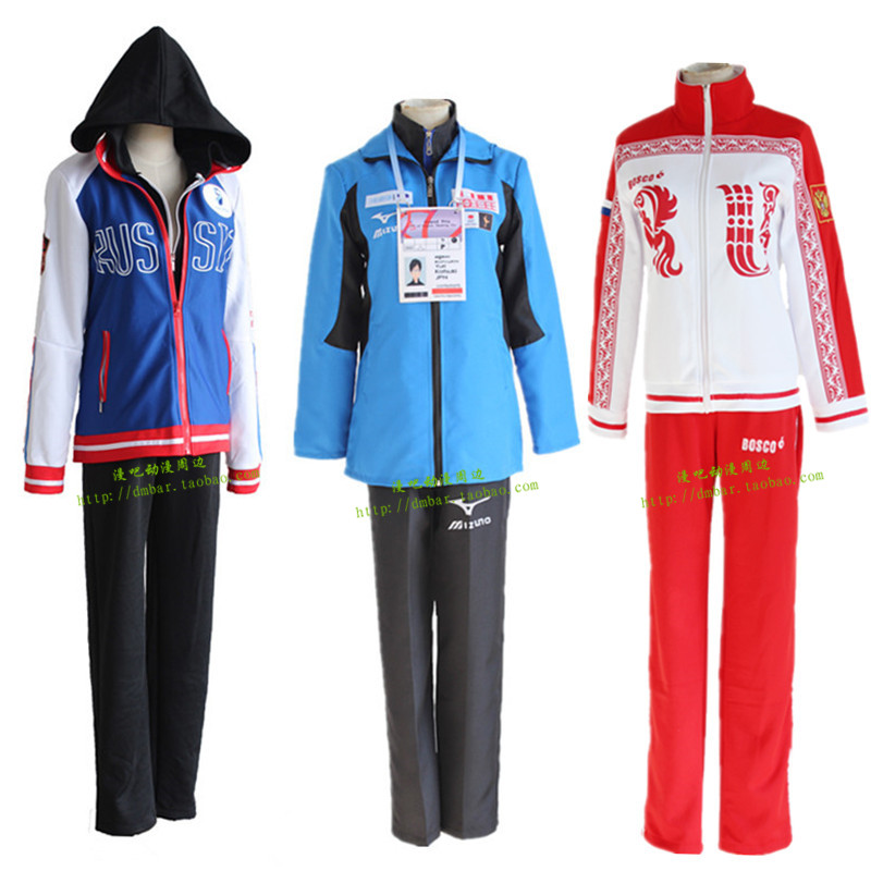 Rolecos Anime Yuri on Ice Cosplay Costumes Victor Nikiforov Cosplay Sportswear Suit Jacket Pants Shirt