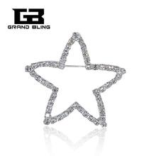Rhinestone Shinning Silver Star Brooch Pin Fashion Jewelry FREE SHIPPING