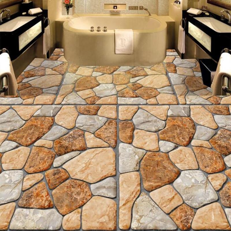 Custom Mural Wallpaper 3D Stereo Cobblestone 3D Floor Painting Sticker Bathroom Kitchen Floor Tiles PVC Waterproof Wall Paper 3D