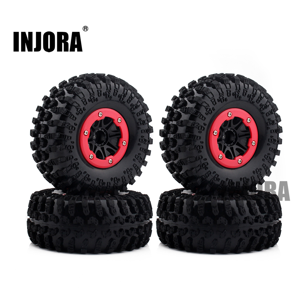 4PCS 2.2 Inch Rubber Tires & Plastic Beadlock Wheel Rim for 1:10 RC Crawler Axial SCX10 RR10 90048 Wraith Yeti 4pcs 1 9 rubber tires