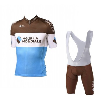 2018 pro team AG2R cycling jersey kits Short sleeve bike cloth MTB Ropa Ciclismo Bicycle maillot jersey and bib shorts GEL pad AG2R La Mondiale 2019
