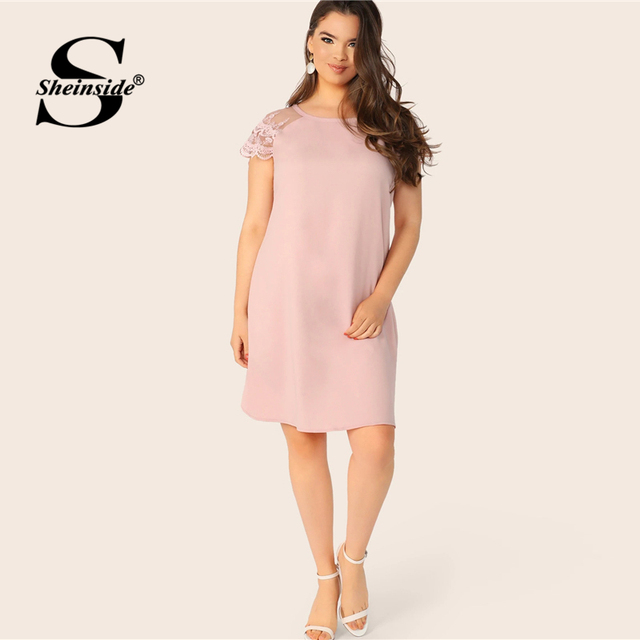Sheinside Plus Size Casual Layered Contrast Lace Sleeve Dress Women 2019 Summer Pink Straight Dresses Ladies Solid Mini Dress 4