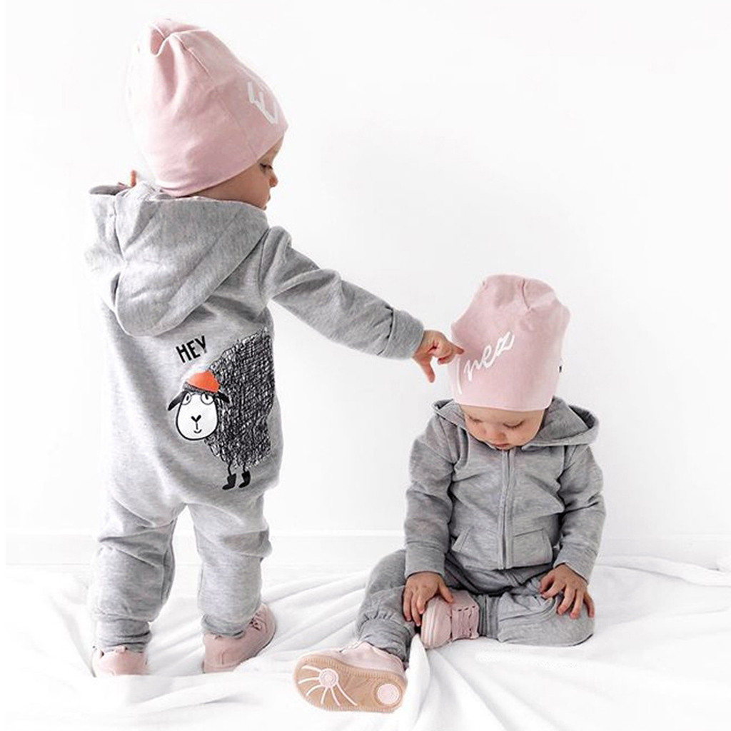 Infant Newborn Baby Boys Girls Cartoon Sheep Hooded   Romper   Jumpsuit Outfits