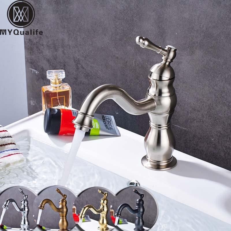 Бесплатная доставка матовый Никель Ванная комната раковина кран Одной ручкой поворотным носик умывальника краны с горячей и холодной воды