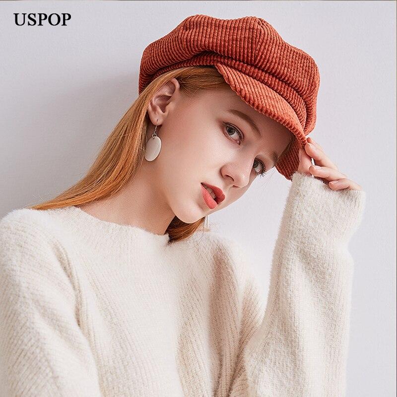 USPOP 2019 Hot Corduroy Octagonal Hats  Women Solid Color Berets Soft Retro Newsboy Caps Visor Cap Female Warm Winter Hats