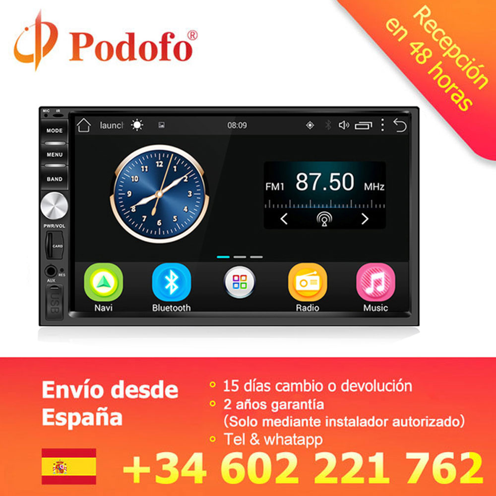 "Podofo Auto Radio 2 Din Android GPS Navigation Car Radio Audio Stereo 7"" 1024*600 Universal Multimedia Player Wifi Bluetooth USB"
