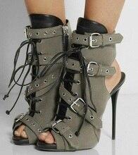 2016 Mujeres de la hebilla Botines de Tacón Alto Peep Toe de Encaje Hasta botines Para Mujer Cut-out Gladiador Zapatos de Vestir Tamaño 34-42 Envío Gratis