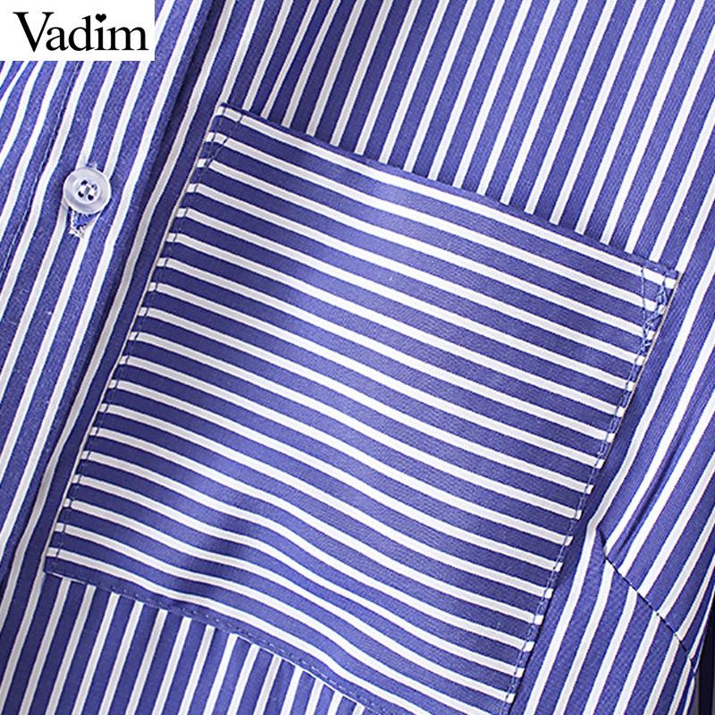 HTB1SGT NFXXXXXYXpXXq6xXFXXX3 - Women floral dragonfly embroidery full cotton striped blouse long shirt