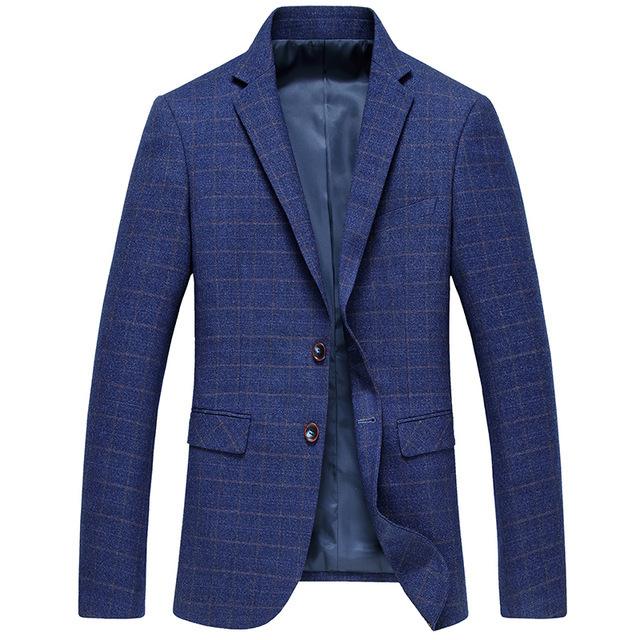 De alta Calidad Ropa Casual Trajes Para Hombres Traje Azul A Cuadros Marca Boutique de Jóvenes Vestido de Slim Fit Hombres Blazer Casual Abrigos Gent Vida