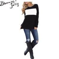 Blooming Jelly tejido de lana mujeres negro blanco mangas largas Blusas Femininas Blusas moda elegante Tops 2017 Nuevo