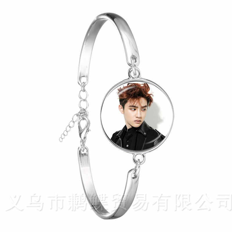 Hot KPOP EXO Bracelet EXO Member Figure Silver Plated Chain Bangle For Fans Support Jewelry Wonderful Gift