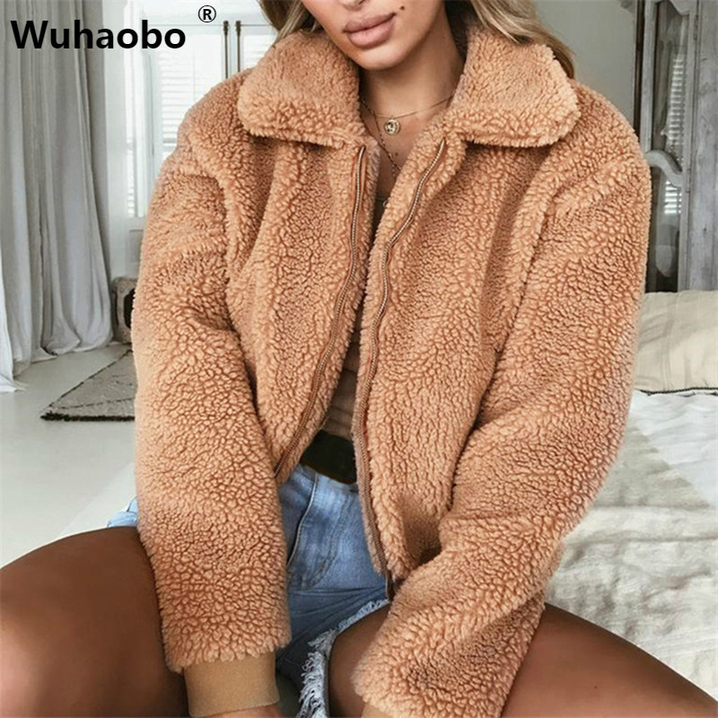 Wuhaobo Winter Teddy   Basic     Jacket   Sherpa Parka Women Autumn 2018 Warm Long Sleeve Bomber   Jacket   Puffer Faux Fur Coat Casual