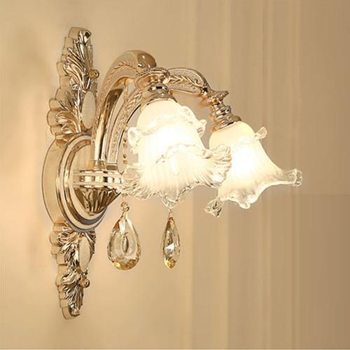 Gold living room wall Lamp hotel E14 Led light Large glass mirror wall sconce Luminaire Bedroom Bathroom wall Light led Arandela
