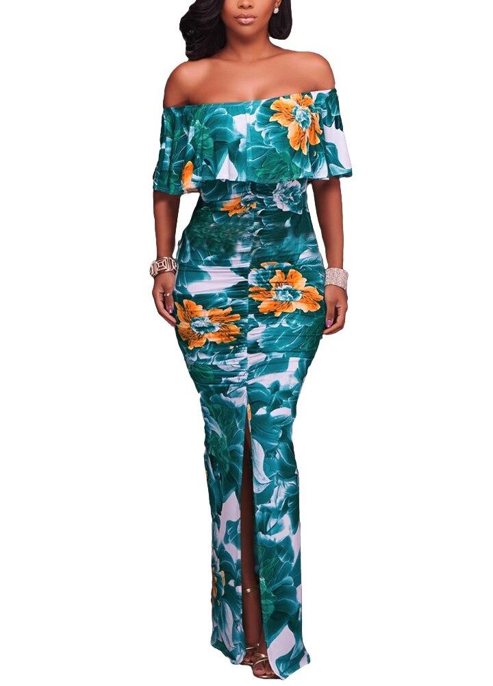 cccdd10086 Kobiety sukienka w dużym rozmiarze kontrast kwiatowy liście drukuj sukienka  Sexy Off ramię wzburzyć zgnioty wysoka
