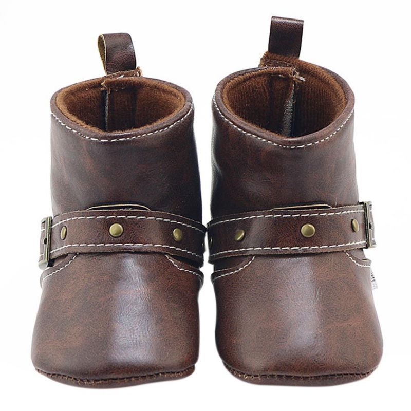 Anti-Slip Winter Classic Brown Baby Cowboy Boots PU Buckle Soft Soled Baby Girl Boy Boots Infant Toddler Shoes First Walkers j2