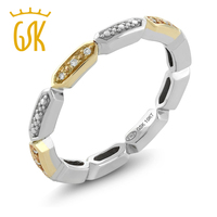 GemStoneKing 10K 2 Tone White Yellow Gold Women S Ring Natural White Diamond Ladies Wedding Eternity