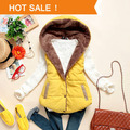 2015 Women's Slim Plus Velvet Vest    Thermal Down Cotton with a Hood Coat Fur Vests Big Plus Size a Waistcoat Jackets XXXL