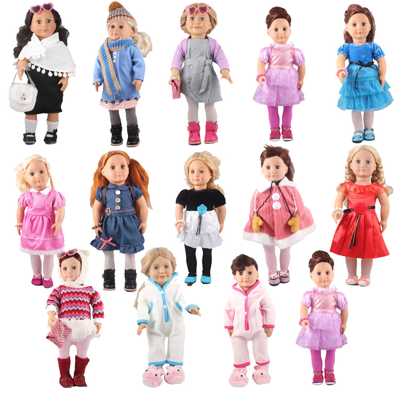 Doll Clothes Outfits for 18 American Girl Doll 14 Kinds of Dress Elegant Doll Accessories For 46cm Doll Of All Brands