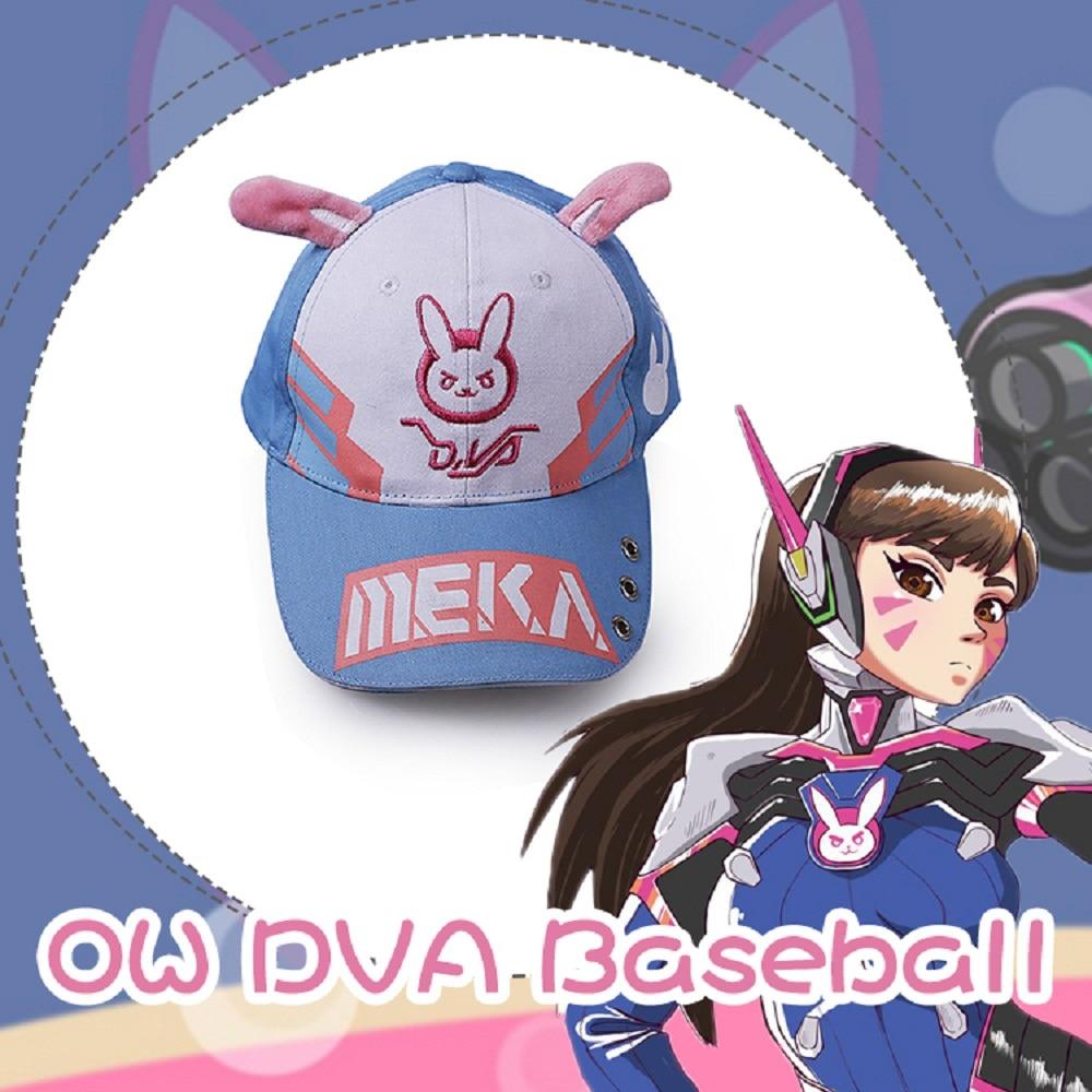 DVA Rabbit Ear Cute Baseball Cap Women Cartoon Printed Lady Hat Japanese Comic Hot Sale D.va Casual Fashion Cap Adjustable