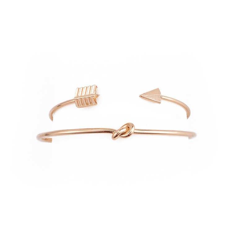Brazalete abierto Vintage pulseras conjunto para mujeres niñas estilo Simple flecha anudada encanto joyería fiesta Boda REGALOS novia