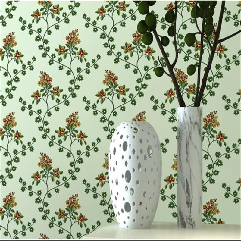 beibehang Modern fresh green warm bedroom garden flowers wallpaper lounge sofa living room study individuality wall paper