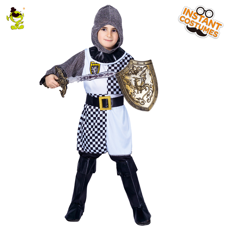 Kids Crusade Knight Warrior medieval Halloween Carnival Party fantasy Costume for Boy's Cosplay fantasia Suit