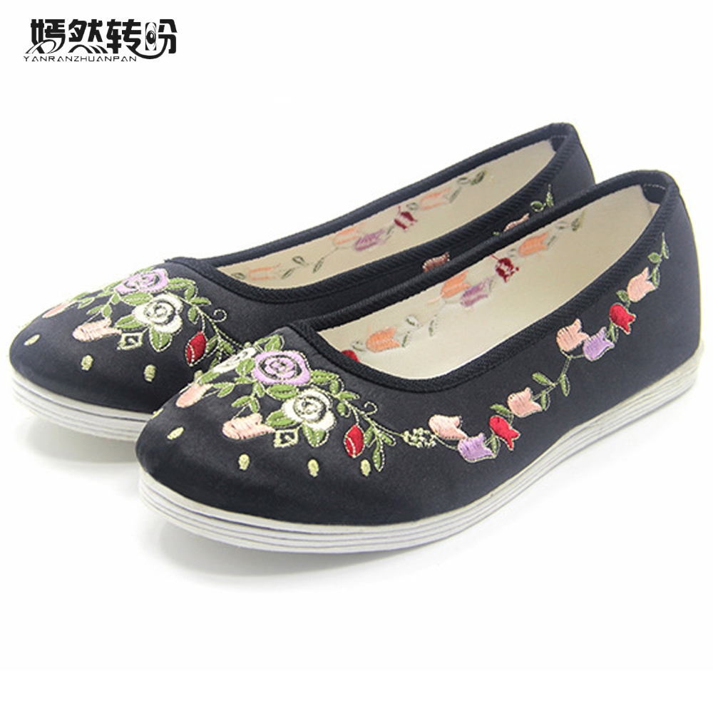 Chinese Women Shoes Flats Old Beijing Wedding Bride Satin Floral Embroidered National Breathable Single Ballet Flat For Woman the new 2017 white satin high with the bride shoes waterproof slipper wedding shoes picture taken single shoes for women s shoes